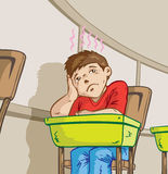 Bored student. Drawing of a boy bored in class royalty free illustration