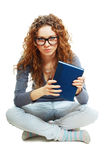 Bored student girl holding book Stock Photo