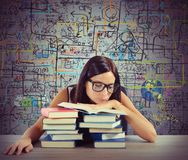 Bored student reads books Stock Images