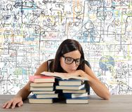Bored student reads books Stock Photo