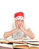 Bored Student in Santas Hat Stock Image