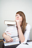 Bored student sitting at table Stock Photography