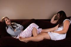 Bored teenage girls Stock Photo