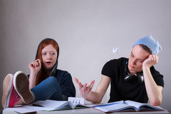 Bored teenage students Royalty Free Stock Photos