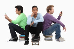 Goup of bored young men Royalty Free Stock Photo