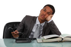 Bored telephone sales worker Stock Images