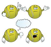 Bored tennis ball set. Collection of bored tennis balls with various gestures royalty free illustration