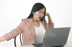 Bored, tired office girl. Picture of a bored and tired office staff royalty free stock images