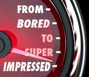 From Bored to Impressed Speedometer Gauge Interest Level Stock Image