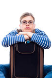 Bored traveller tourist woman with luggage Royalty Free Stock Image