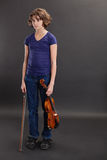 Bored of violin lessons Stock Images
