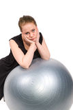Bored vrouw die onwillig is uit te oefenen Royalty-vrije Stock Afbeeldingen