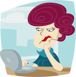 Bored woman. A woman is bored at work royalty free illustration