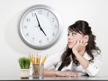 Bored woman at the end of the day Royalty Free Stock Photos