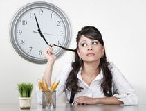 Bored woman at the end of the day Stock Image