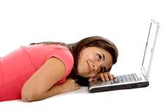 Bored woman with a laptop Royalty Free Stock Photos