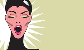 Bored woman Pop art Comic Book Style Banner. With beautiful woman vector illustration