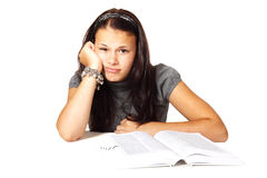 Bored woman studying Stock Image
