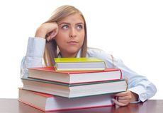 Bored woman studying royalty free stock images