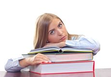 Bored woman studying Stock Images