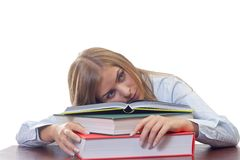 Bored woman studying Royalty Free Stock Photo