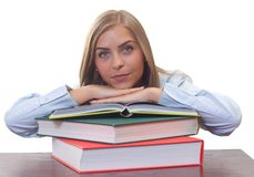Bored woman studying Royalty Free Stock Image