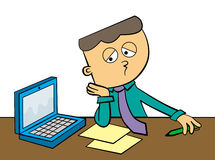 Bored at work. A sad cartoon character in business attire looking very bored while looking at his papers and laptop royalty free illustration