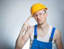 Bored young builder Stock Image