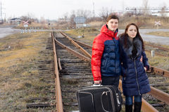 Bored young couple waiting for a train Stock Photography