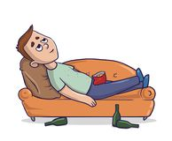 Bored young man lying on a sandy-colored couch stares at the ceiling with empty bottles nearby. Cartoon character vector. Bored young man lying on a sandy vector illustration