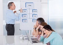 Bored zakenlui bij presentatie stock foto's