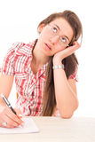 Boredom in learning. Young female student having boredom in learning Stock Photos
