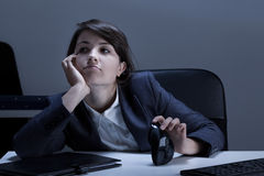 Boredom in the office. Horizontal view of boredom in the office Stock Photo