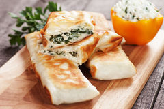 Borek with chard and cheese filling. Borek or pita, filo pastry with cheese and spinach filling Stock Image