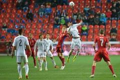 Borek Dockal and Igors Tarasovs in heading. Prague 28.03.2015 _ Match of the EURO 2016 qualification group A Czech Republic - Latvia 1: 1 0: 1. Goals 90 'Pilar royalty free stock photography
