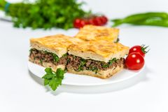 Borek with a lot of meat on white plate stock image