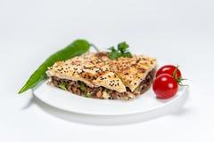 Borek med kött och grönsaker på den vita plattan fotografering för bildbyråer
