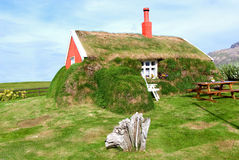 Borgarfjordur home Lindarbakki. Iceland  hairy house with grass on the walls and roof Stock Images