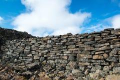 Borgarviki堡垒在玄武岩器官修造了在Vatnsnes半岛,冰岛 免版税库存照片