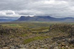 Borgarvirki一个柱状玄武岩堡垒和一个火山的插座打开 图库摄影