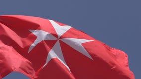 Borgerlig flagga för nationsflagga av det Malta slutet upp arkivfilmer
