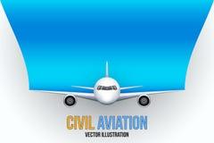 Borgerligt flygplan med utrymme för text stock illustrationer