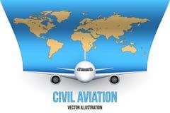 Borgerligt flygplan med världskartan vektor illustrationer