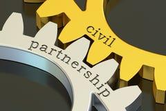 Borgerligt partnerskapbegrepp på kugghjulen, tolkning 3D stock illustrationer