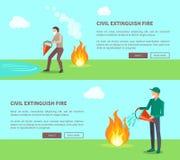 Borgerligt släck branduppsättningen av affischer med text stock illustrationer