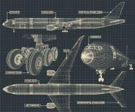 Borgerligt trafikflygplanteckningsfragment stock illustrationer