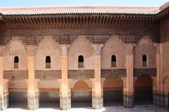 Borggård av Ali Ben Youssef Madrasa Arkivbilder