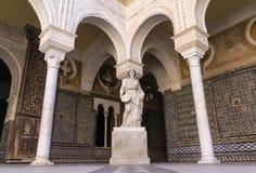 Borggård av Casa de Pilatos Seville, Spanien Arkivfoton