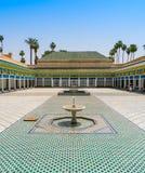 Borggård av den kungliga slotten i Marrakech Arkivfoto