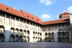 Borggård av det Wawel slottet, Krakow, Polen Arkivbilder